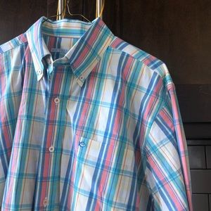 Southern Tide Pink White Blue Plaid Button Down M